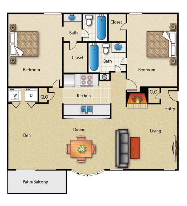 1,140 sq. ft. 2A floor plan