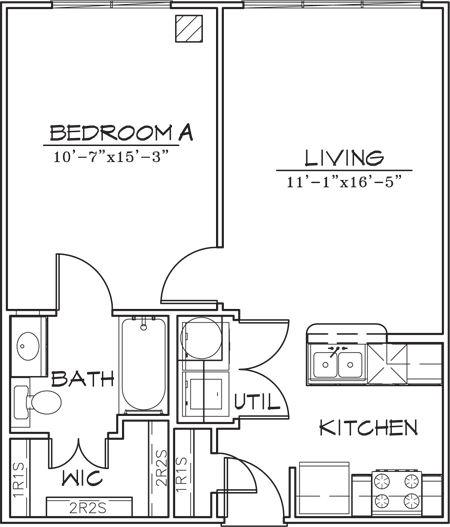 595 sq. ft. A1-3 floor plan