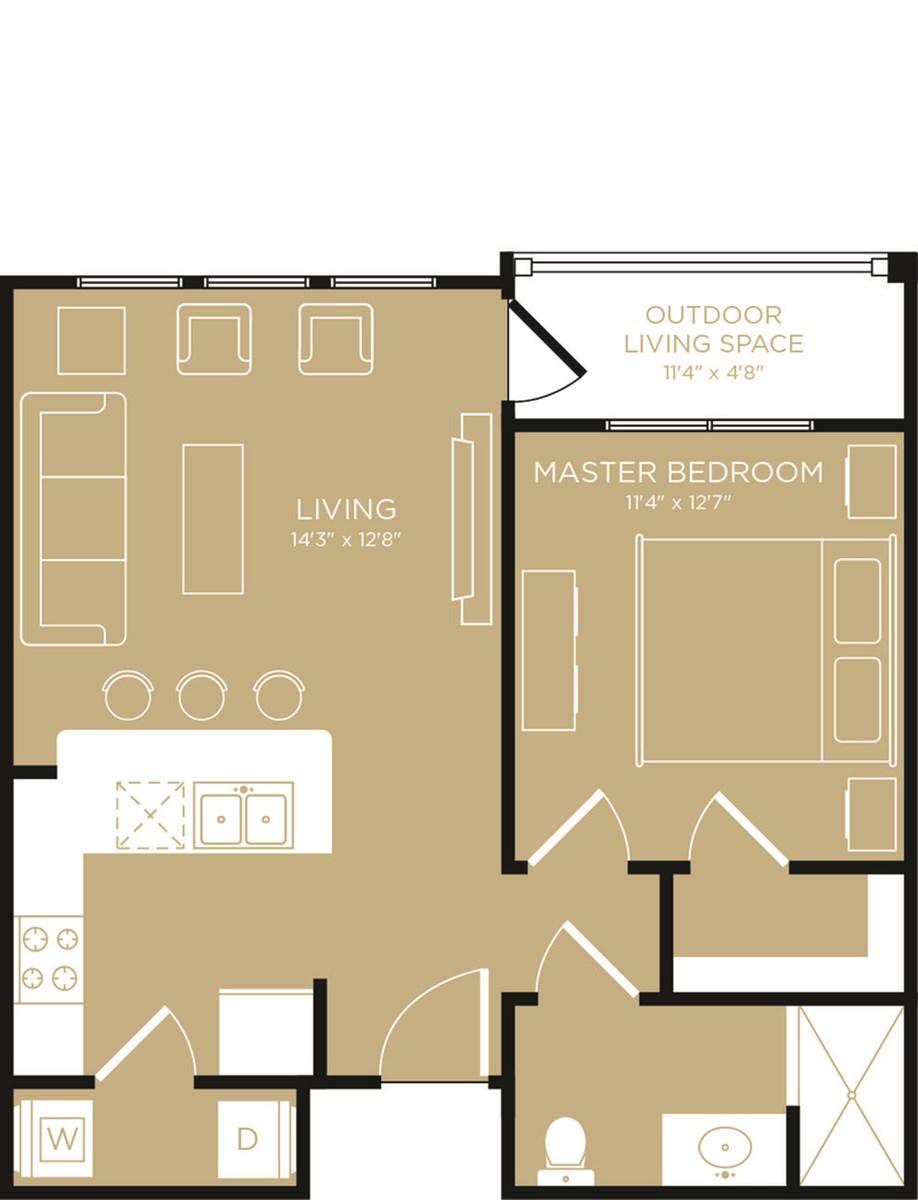 612 sq. ft. Coast floor plan