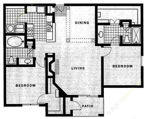 1,243 sq. ft. B2 floor plan