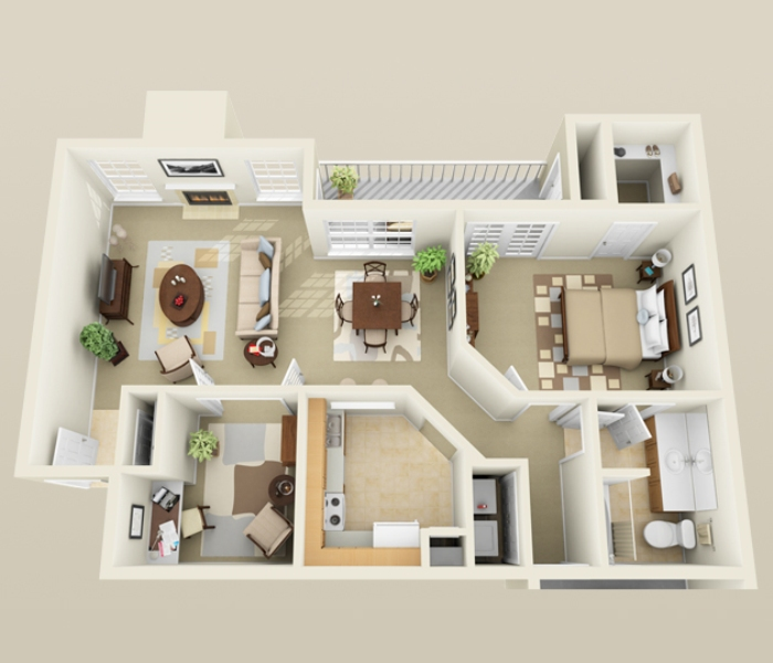992 sq. ft. A4 floor plan