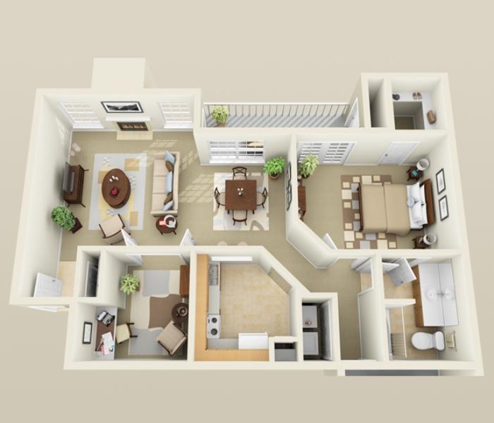 992 sq. ft. A4 floor plan
