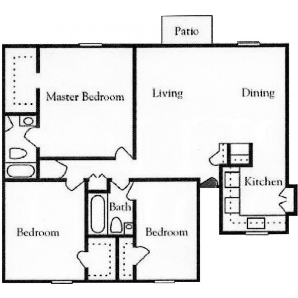 1,257 sq. ft. floor plan