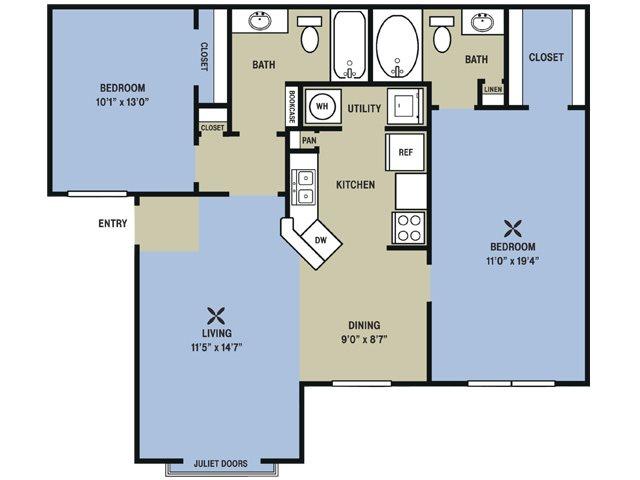 1,023 sq. ft. to 1,026 sq. ft. Citation floor plan