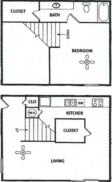 688 sq. ft. floor plan