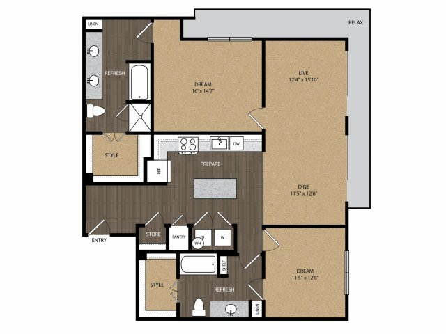 1,306 sq. ft. Fairmont B4 floor plan