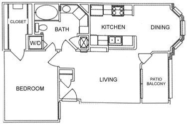 747 sq. ft. A1 floor plan