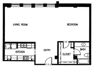 956 sq. ft. H2 MKT floor plan