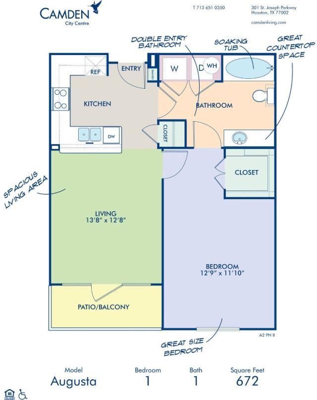 672 sq. ft. AUGUSTA floor plan