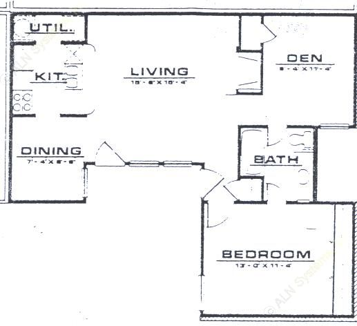 845 sq. ft. A3 floor plan