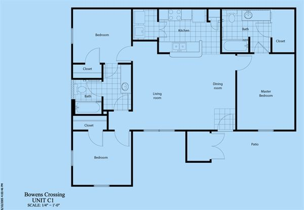 1,181 sq. ft. C-1 floor plan