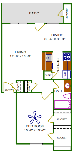 726 sq. ft. B/Palm floor plan