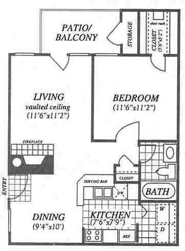 660 sq. ft. A1C floor plan