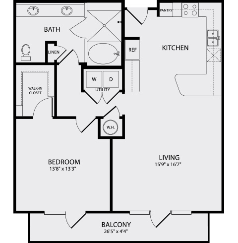 945 sq. ft. A4 floor plan
