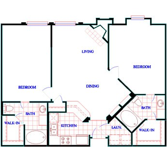 1,057 sq. ft. to 1,062 sq. ft. B2 floor plan