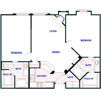 1,057 sq. ft. to 1,062 sq. ft. B2 floor plan