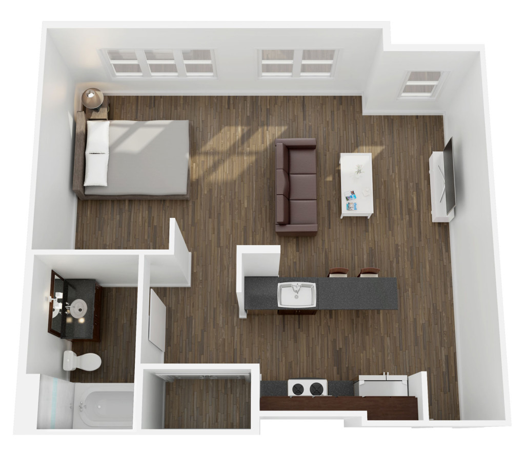 574 sq. ft. to 625 sq. ft. E1 floor plan