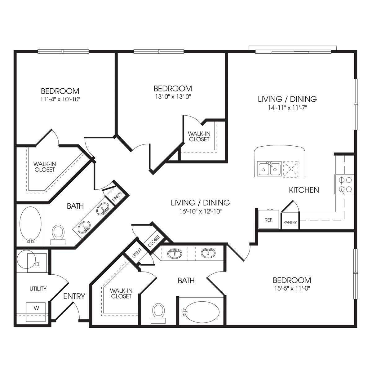 1,350 sq. ft. Carnaby Street floor plan
