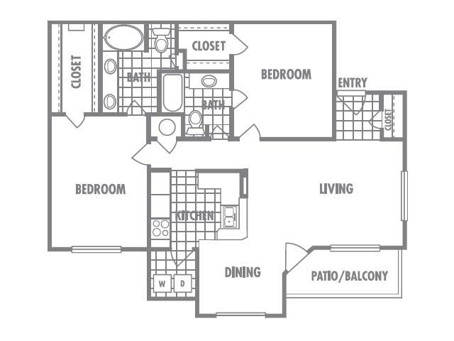 1,125 sq. ft. B2 floor plan