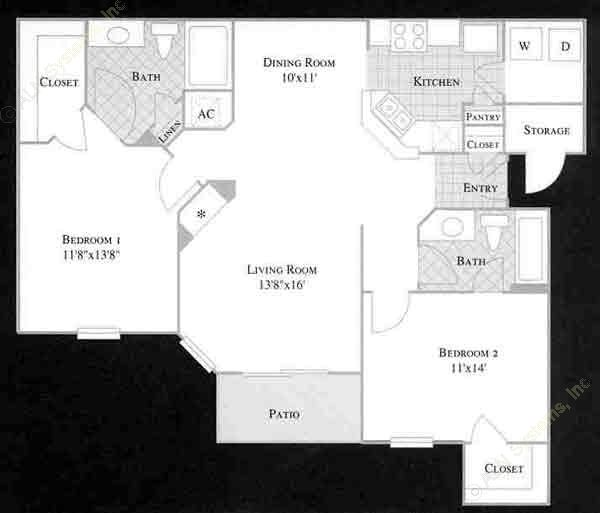 1,094 sq. ft. VIOLET floor plan