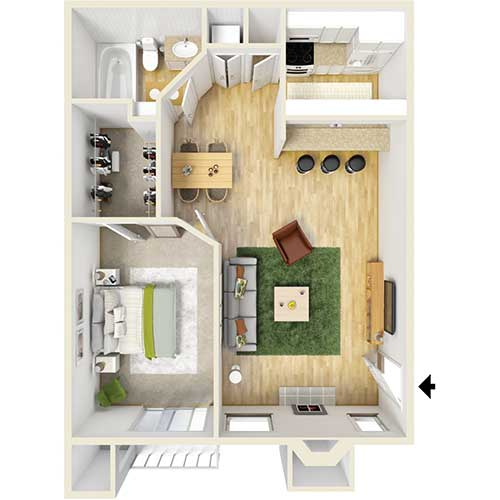 500 sq. ft. A3 floor plan