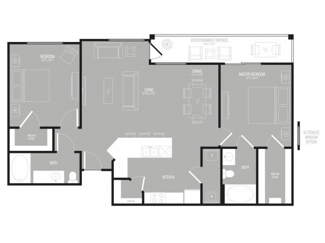 1,187 sq. ft. Metro floor plan