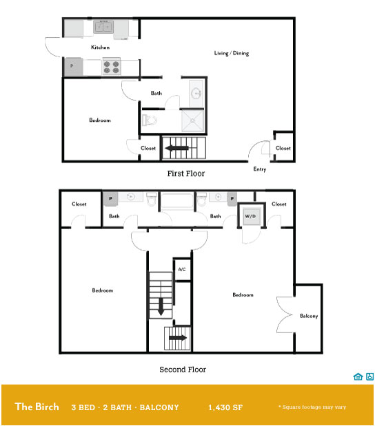 1,430 sq. ft. Birch Balcony floor plan