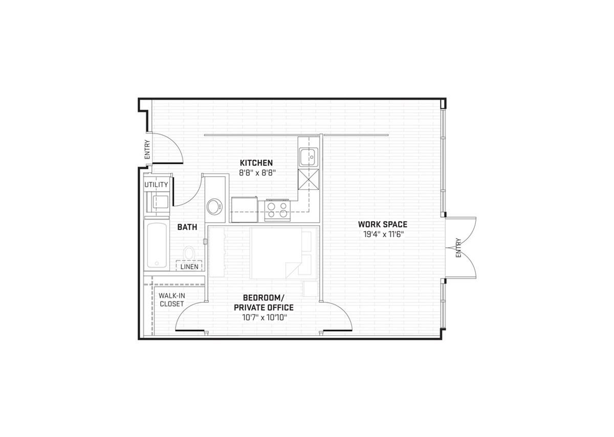 750 sq. ft. LW2 floor plan