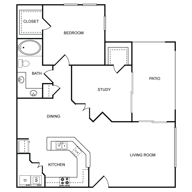 939 sq. ft. Creek floor plan