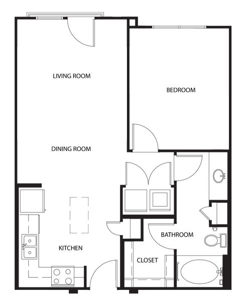 715 sq. ft. A1 floor plan