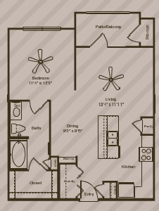 691 sq. ft. Natural floor plan