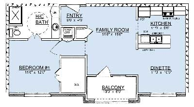 840 sq. ft. A1 floor plan