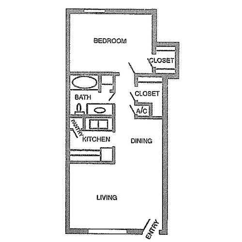 733 sq. ft. B floor plan