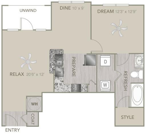 828 sq. ft. A2E floor plan