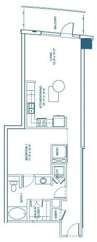 851 sq. ft. A1 floor plan
