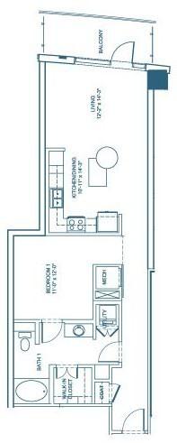 851 sq. ft. A1 floor plan