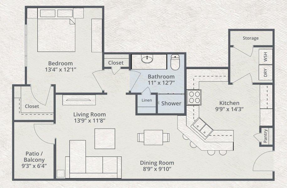 899 sq. ft. Hawaiian floor plan