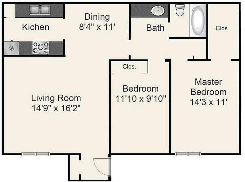 967 sq. ft. D floor plan