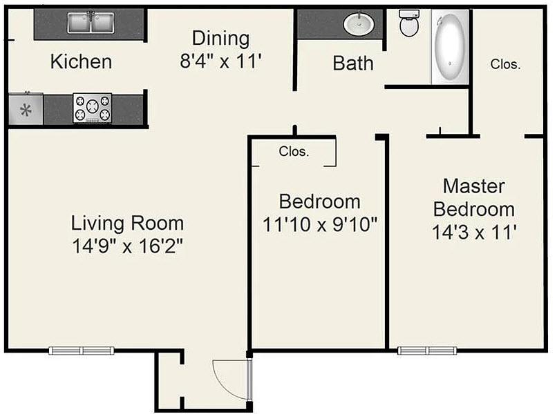 967 sq. ft. D floor plan