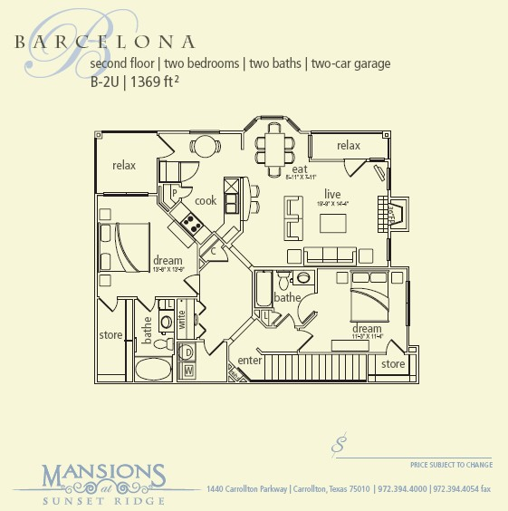 1,369 sq. ft. Barcelona floor plan