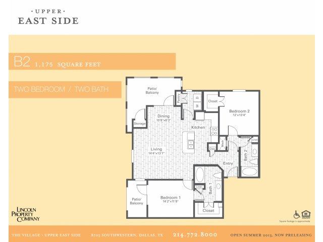 1,175 sq. ft. B2 floor plan