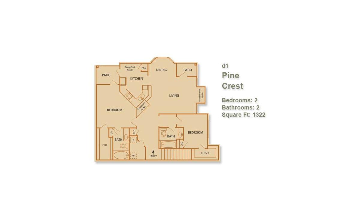 1,322 sq. ft. Pine Crest floor plan