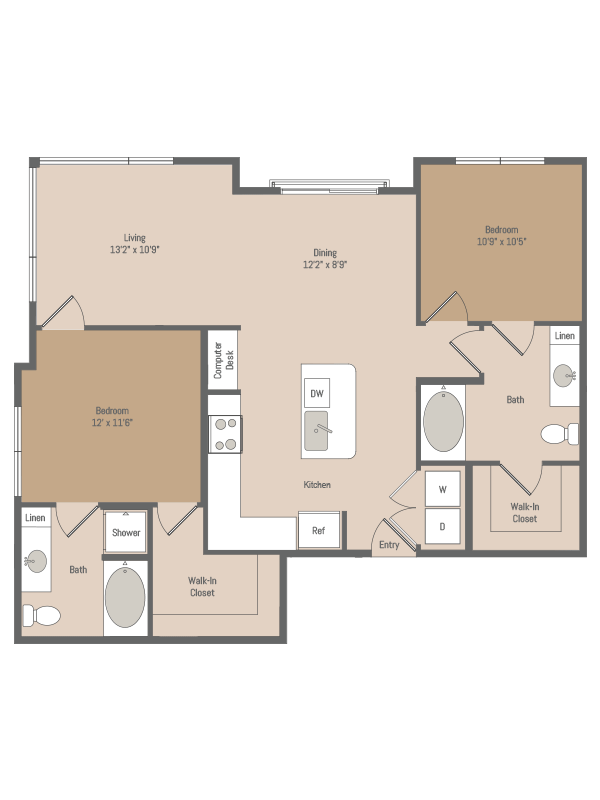 1,092 sq. ft. B5 floor plan