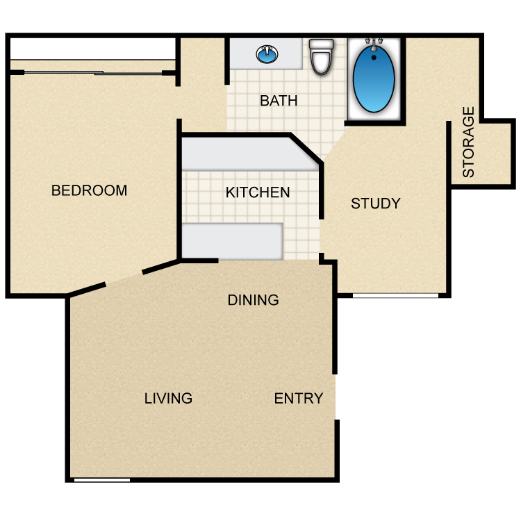 780 sq. ft. Aspen floor plan