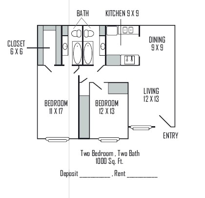 1,000 sq. ft. C floor plan