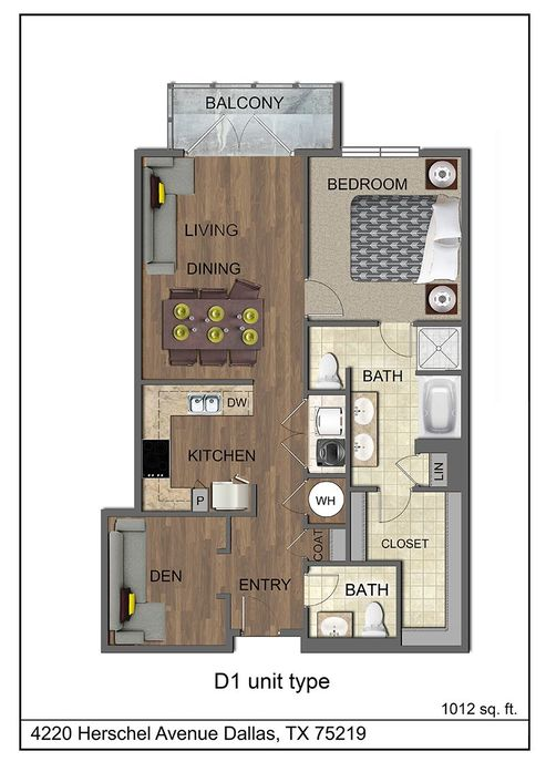 1,012 sq. ft. D1 floor plan