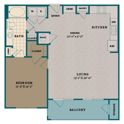 915 sq. ft. A7 floor plan