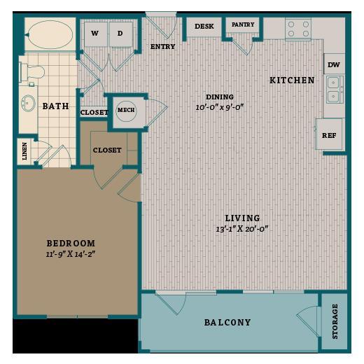 915 sq. ft. A7 floor plan