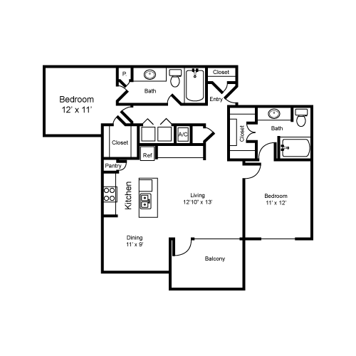 1,114 sq. ft. B2-I floor plan