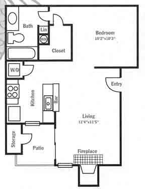 518 sq. ft. E1 floor plan